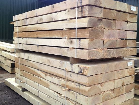 Larch Posts Fence Sleeper Fresh Sawn Timber Sleeper 5 x 5 x 2.4 Metres Long