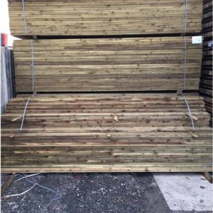 Pressure treated fence post rails
