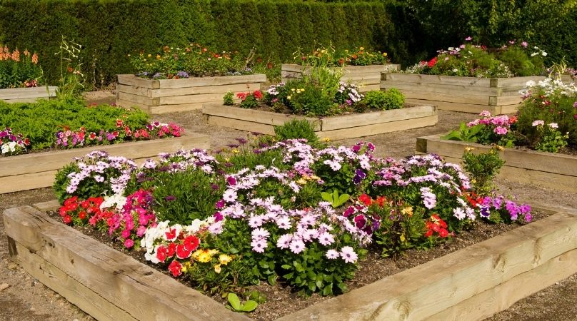 Raised flower beds made with sleepers