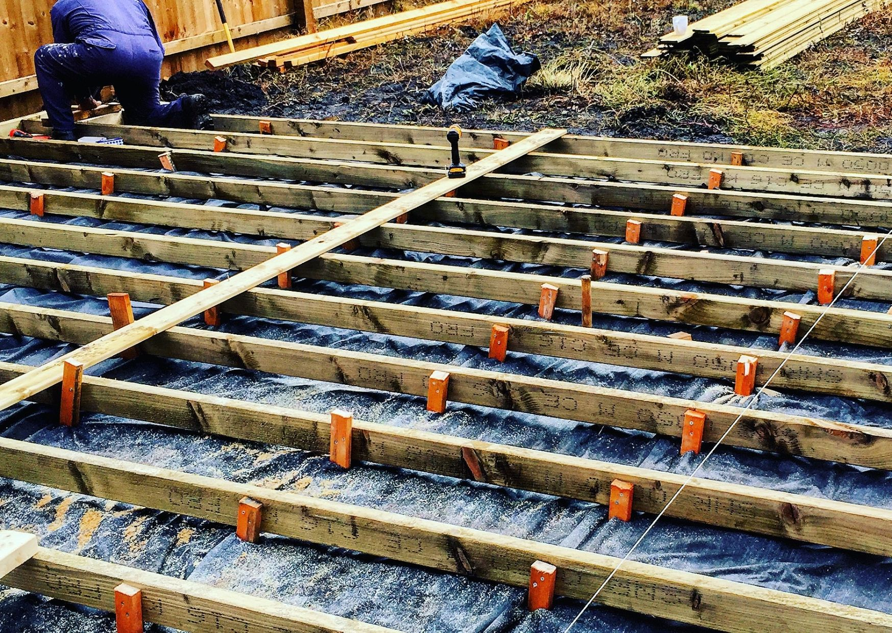additional blocks to support decking joists