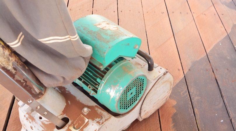 sanding down a deck